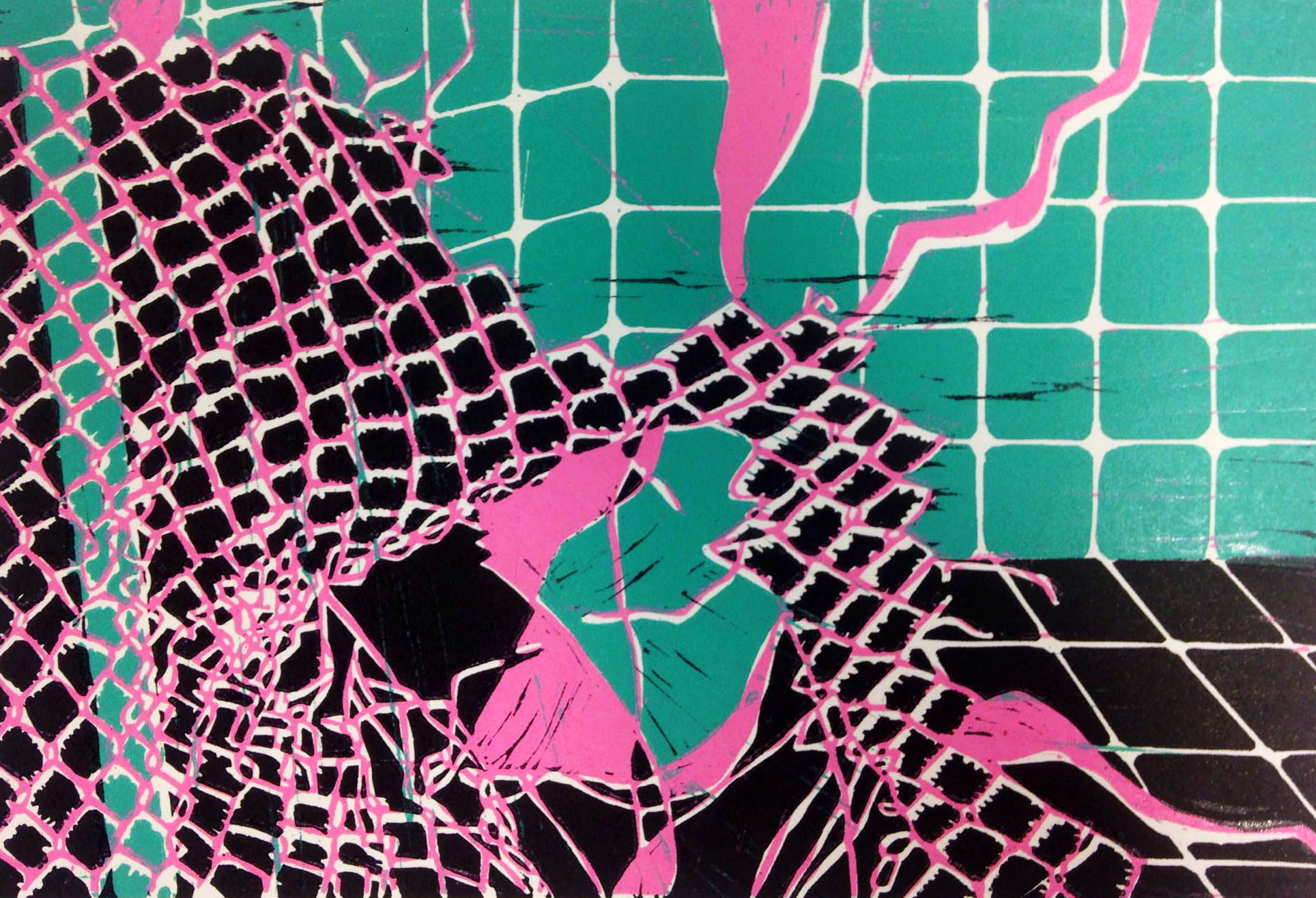 Pink fence, linocut