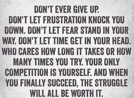 You don't give in....