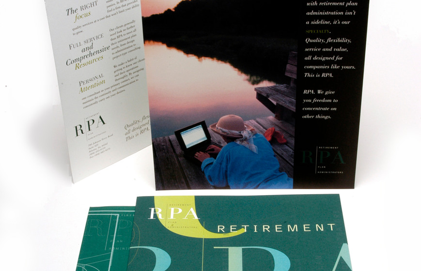 RPA Financial firm needed capabilities materials and more practical report covers and pocket folders. We combined the two, giving marketing messages more airtime as they appeared on items in daily use.