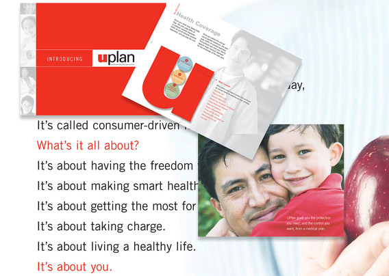 Group of pages and Cover from Unisource Corporation's Employee Benefits Communications Materials. Family, health professionals and colorful charts are shown to create user friendly materials.