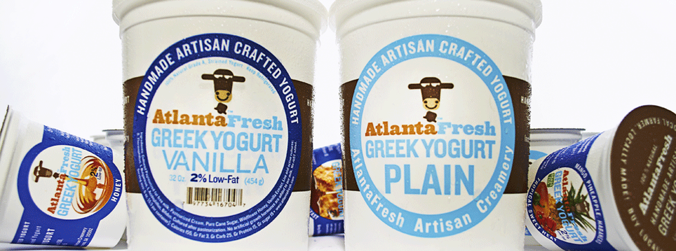 The AtlantaFresh Quart containers were the only containers to retain their original 2008 design throughout every brand update. Today many yogurts use this type style and even the blue and red color coding. At the time, AtlantaFresh was the only yogurt on the shelf with this impactful style, helping a newcomer to the dairy shelf stand out.