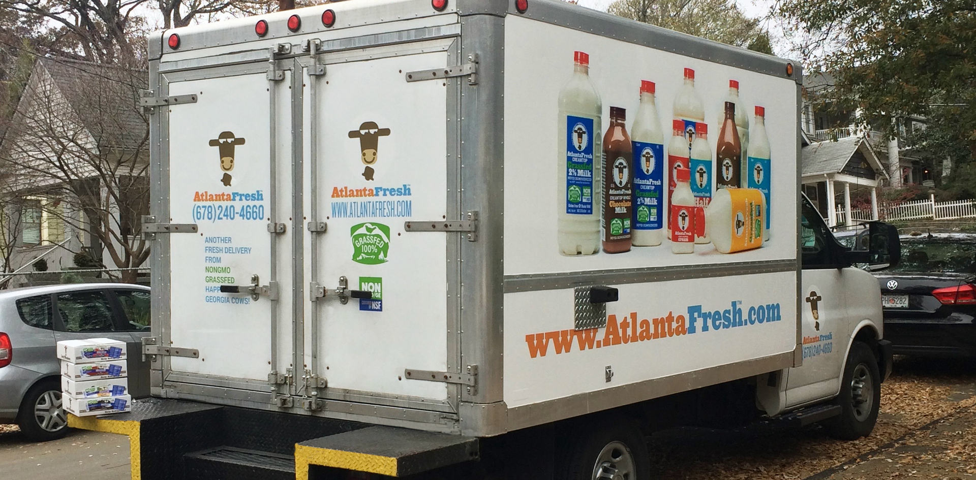 Vehicle Wraps are an underused ad medium. AtlantaFresh trucks were designed to advertise the established and familiar yogurt products on one side of the truck. And the new colorful milk line on the other. Back doors? Always put a company phone number. Atlanta's Traffic jams are the best advertising!