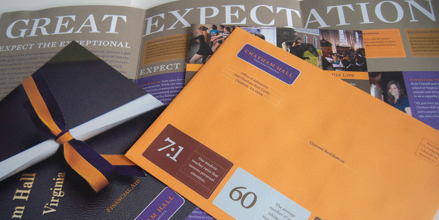 Higher Ed Admission Materials for direct mail campaigns