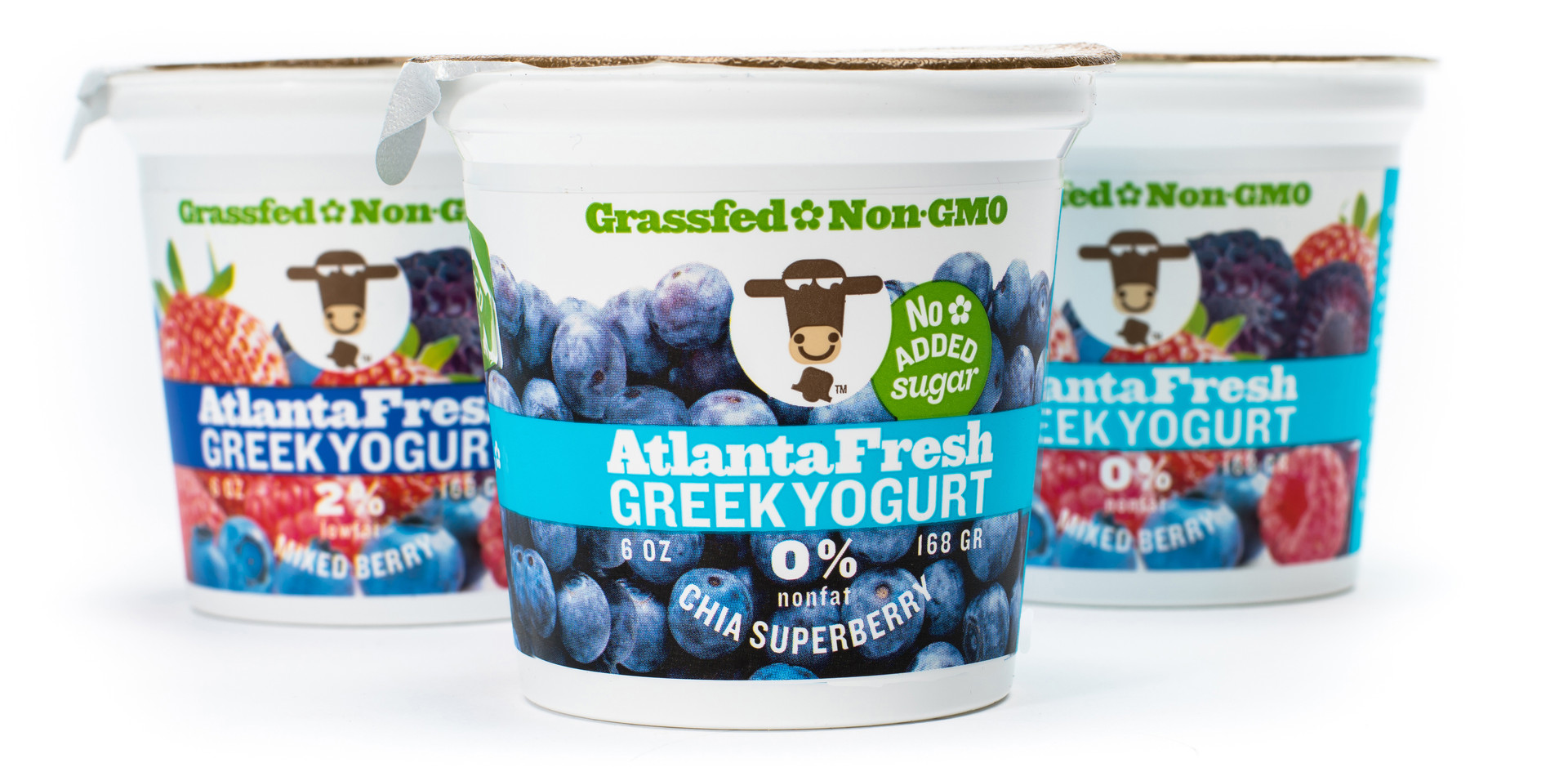 Staying ahead of trends is key in keeping brands relevant.The original AtlantaFresh Greek Yogurt packaging required a refresh in 2015 due to new FDA nutrition panels. A balance was struck between retaining the fledgling brand's identifying features and the new requirements. The brand's smiling cow and signature light blue, dark blue, red color coding was unique since 2008. Not used by any other brand at the time, we retained these key features while adding new messaging. The fresh red and blue color system served the brand well for 10 years.
