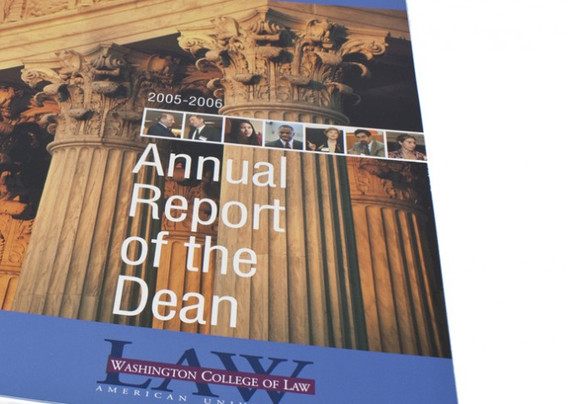 Cover design using metallic ink of American University Washington College of Law Dean's Report produced for Stein Communications, now RR Donnelly
