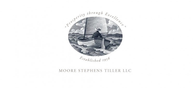 New logo for Moore Stephens Tiller. Illustrated by Scott McKowen in a 19th century steel engraving style.