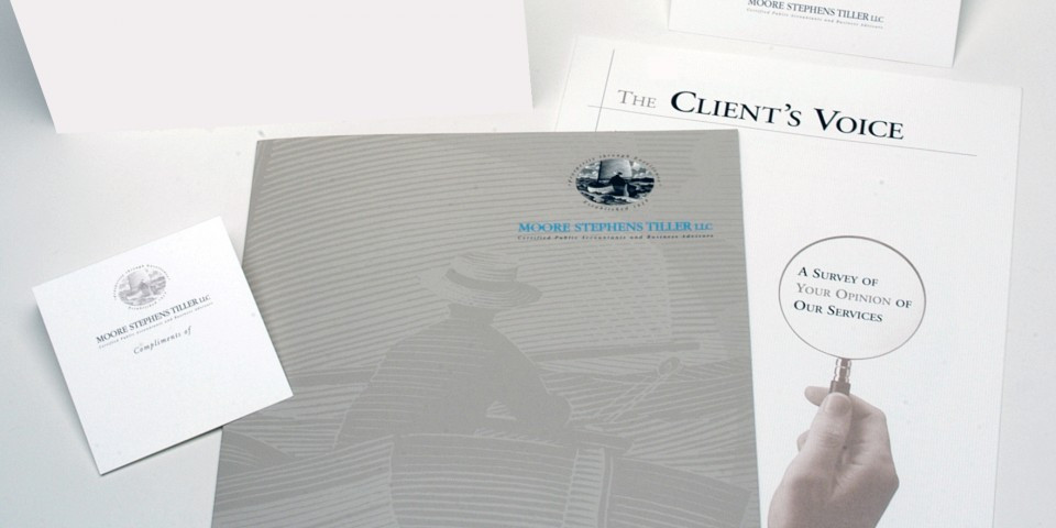 The new steel engraving style logo, once completed was also used as graphics on marketing materials and corporate stationery to reinforce the new corporate identity for this firm.