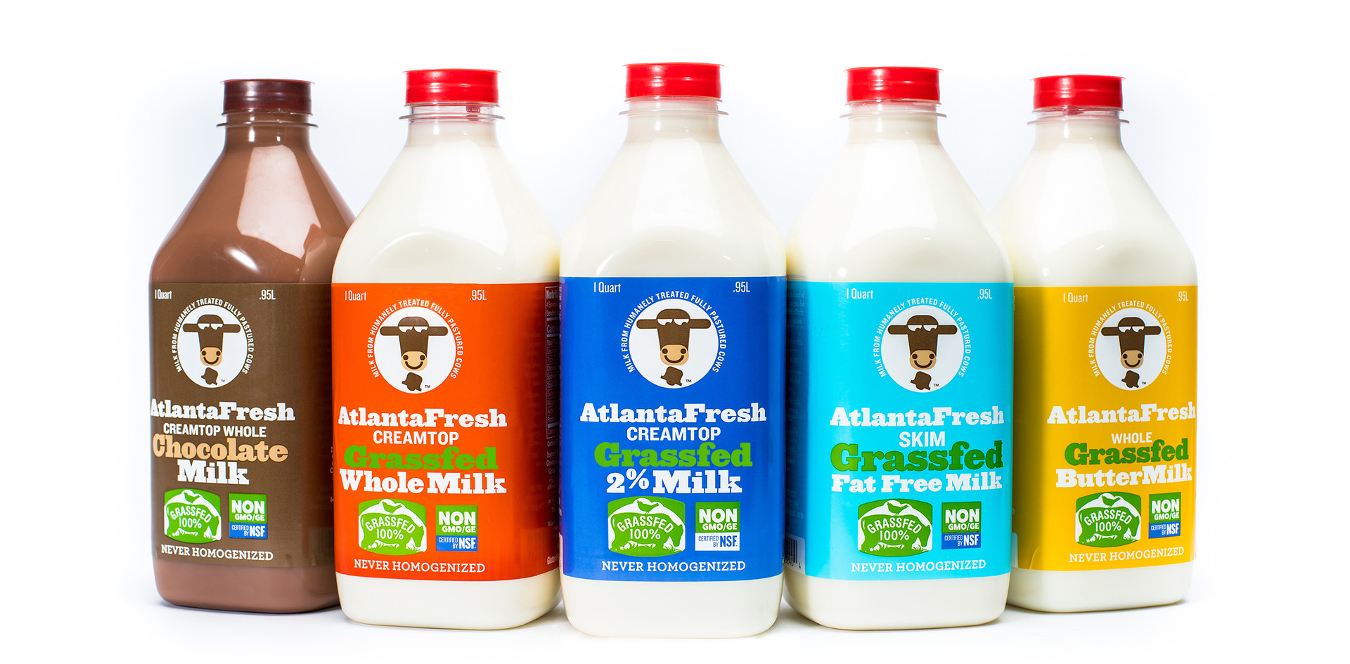 The only milk on the shelf with a rainbow of bright solid coverage colors and a cow's head front and center, AtlantaFresh grass-fed milk was designed in 2015, then introduced nationally in every Whole Foods in the country. Using the existing brand standards, the color coding via milk fat level was a logical extension of the yogurt packaging. The same logo and type setup as had been used since 2008. Required grassfed and NonGMO seals were added and a hand hewn look to the type grew out of the different sizes of characters as each product name was displayed.