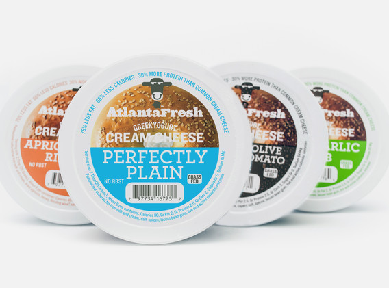 Perhaps the most successful design in the AtlantaFresh product line, the cream cheese containers in 3 flavors were an opportunity to show off the logo in reversed out white. A style that is used by many brands today. It was still fresh in 2009.