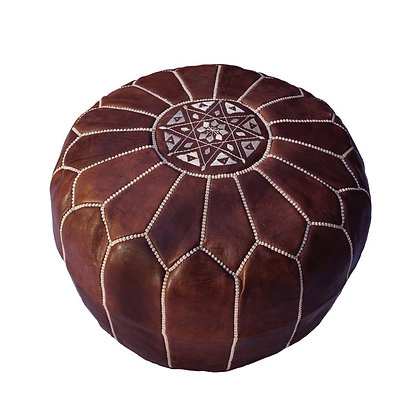 Walnut Leather Moroccan Pouf