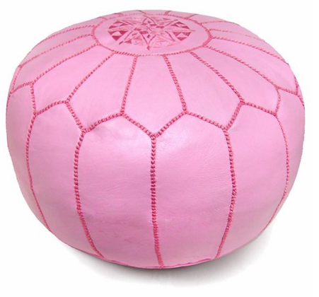 Pink Leather Moroccan Pouf