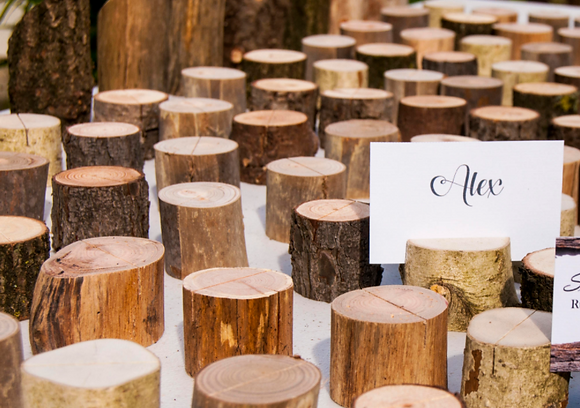 Wood Log Name Card Holders