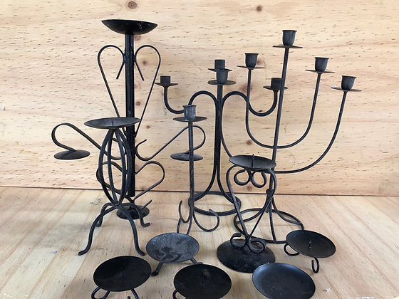 Wrought Iron Tabletop Candelabras