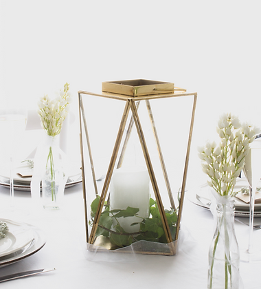 Brass Geometric Lantern - Large