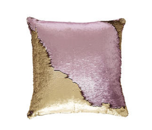 Pink Gold Sequinned Cushion