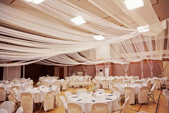 White Tulle Ceiling Drapping