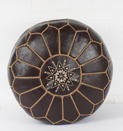 Chocolate Leather Moroccan Pouf