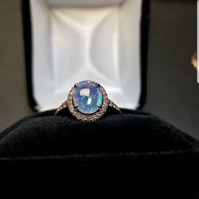 Opal Diamond Rose Gold Engagement Ring