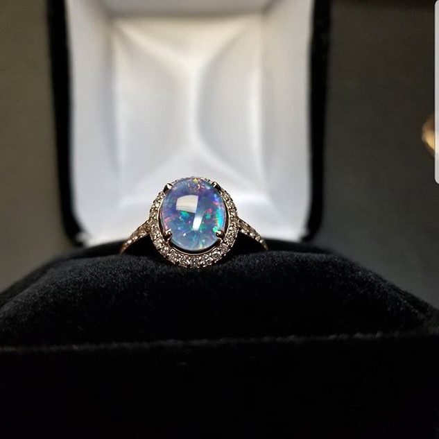 Opal Diamond Rose Gold Engagement Ring