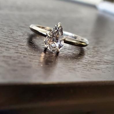 Coffin Cut MT Sapphire Engagement Ring
