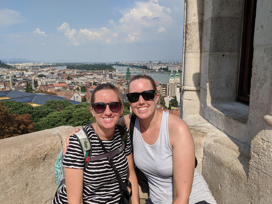 Megan and her sister. Photo overlooking Budapest from the Fisherman's Bastion