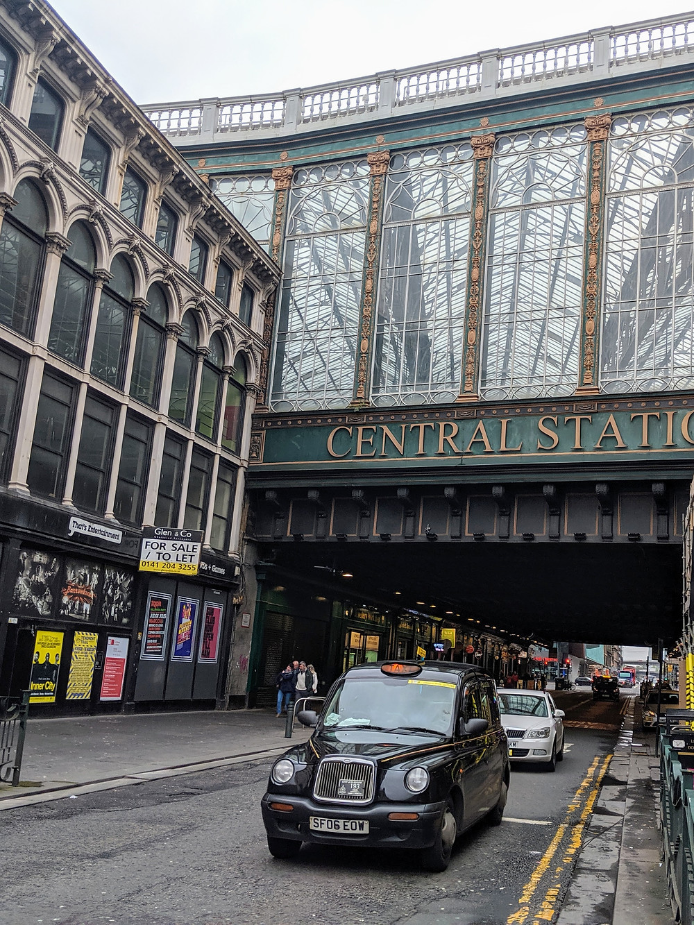 Central Station in Glasgow with taxis parked out front