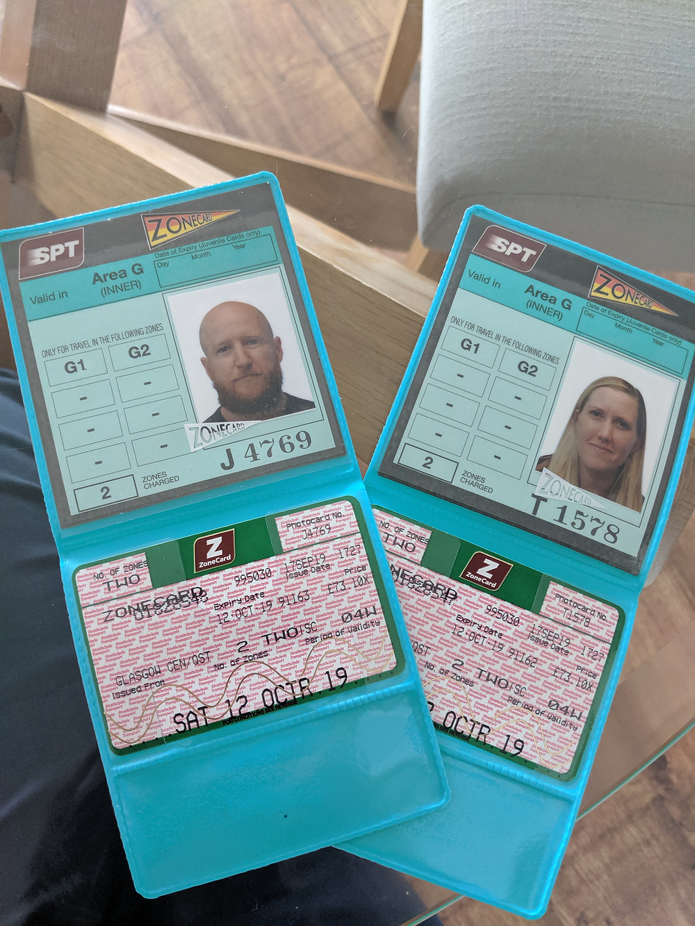 two zone cards with pictures of Eddie and Megan