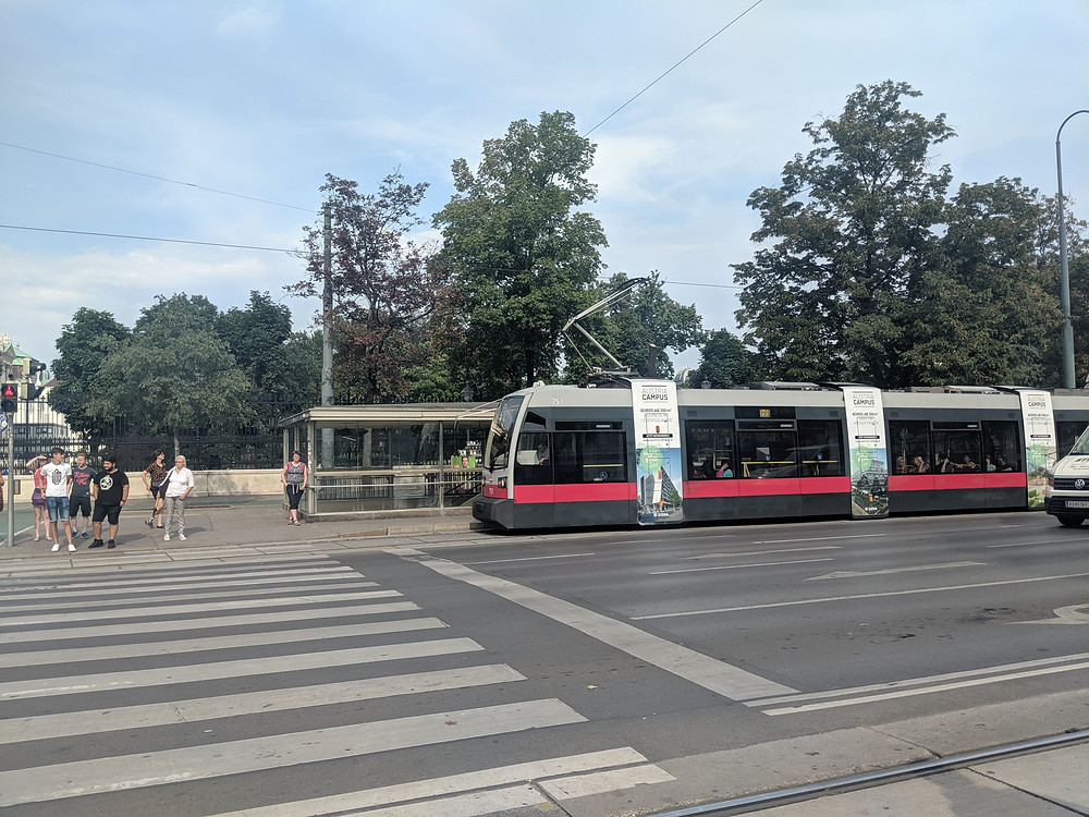 View of the tram across the street