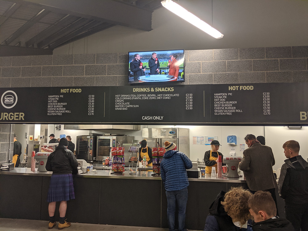 concessions stand at a large football stadium in Scotland