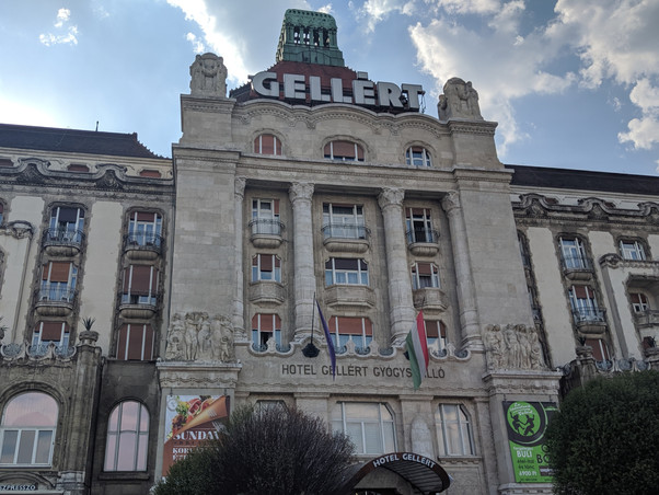 Exterior photo of the Gellert Hotel which also contains the baths and spa.