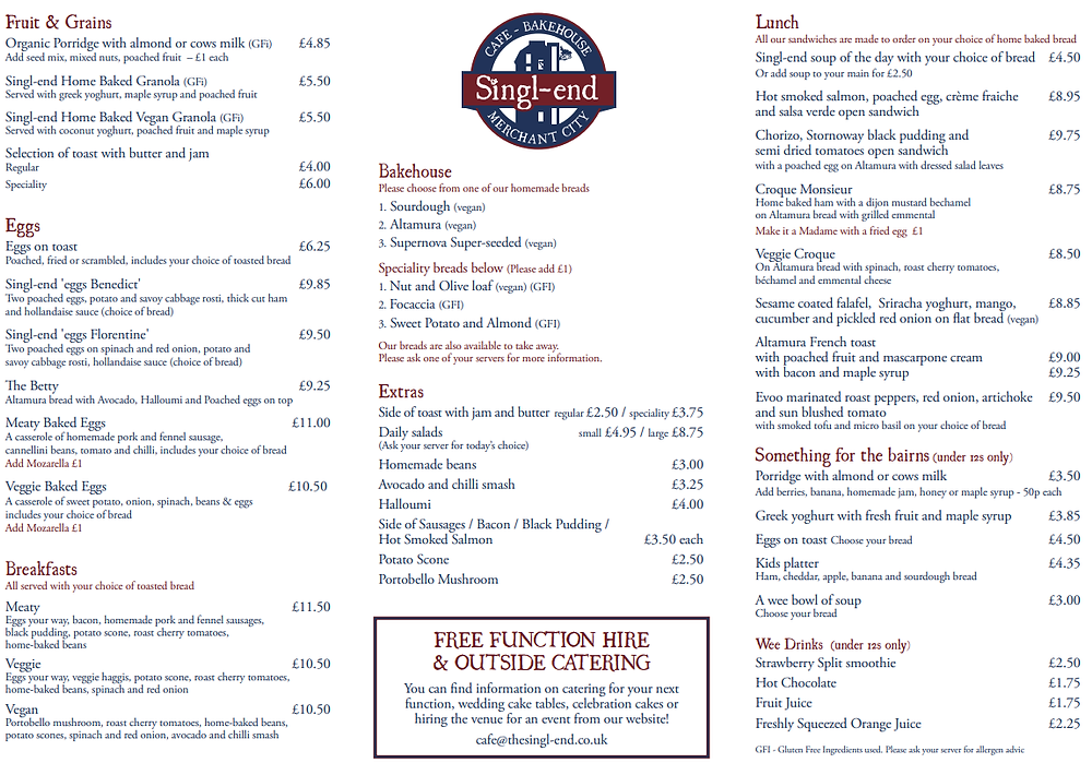 Front page of the menu that includes food.
