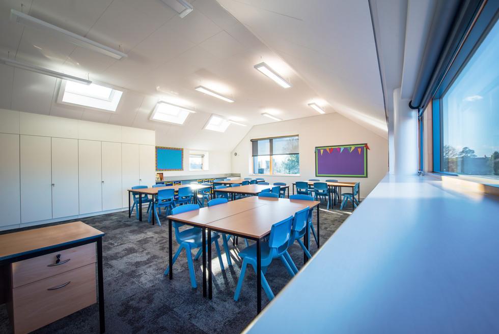 Downton Primary School blue classroom window