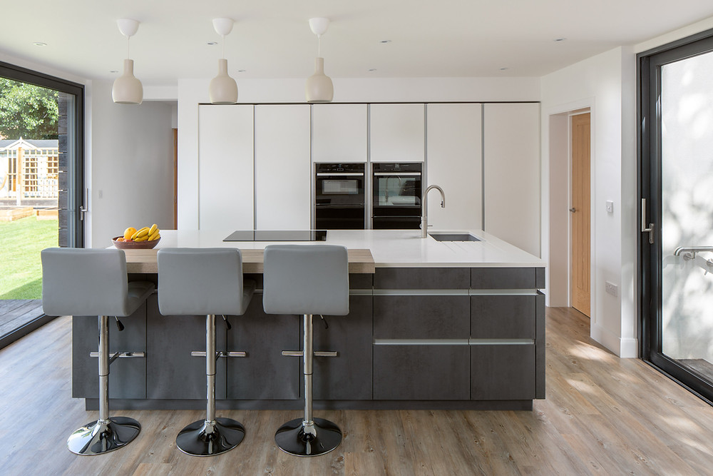 modern kitchen of a self build family home in Wiltshire
