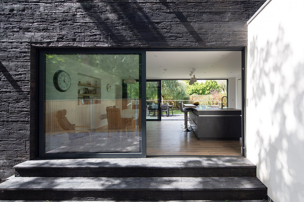 Burnt timber house architecture in Dorset