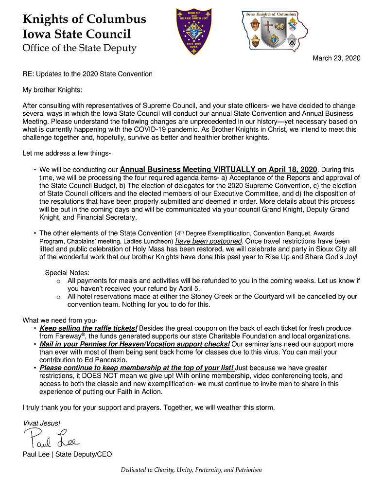 ltr to State- changes to State Conventio