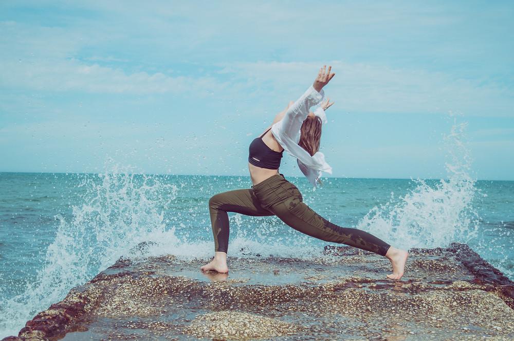 Combined beach yoga and meditation