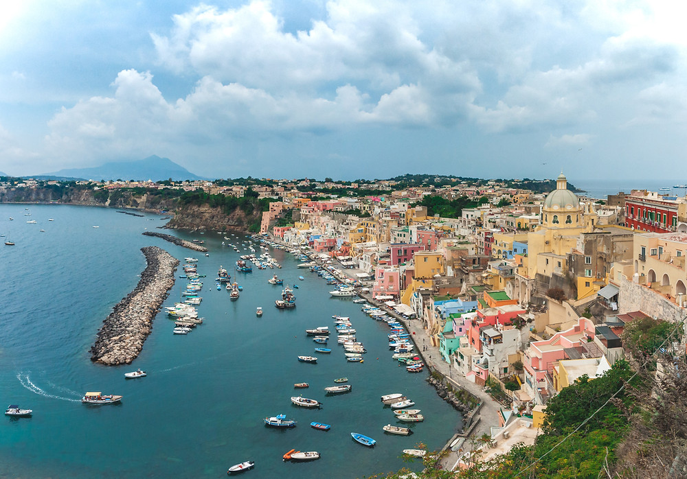 the beautiful town of Procida on the bay ion Naples