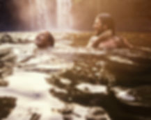 Waterfall Couple Swimming