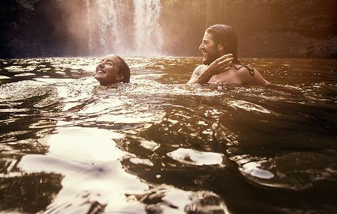 Waterfall Couple Swimming