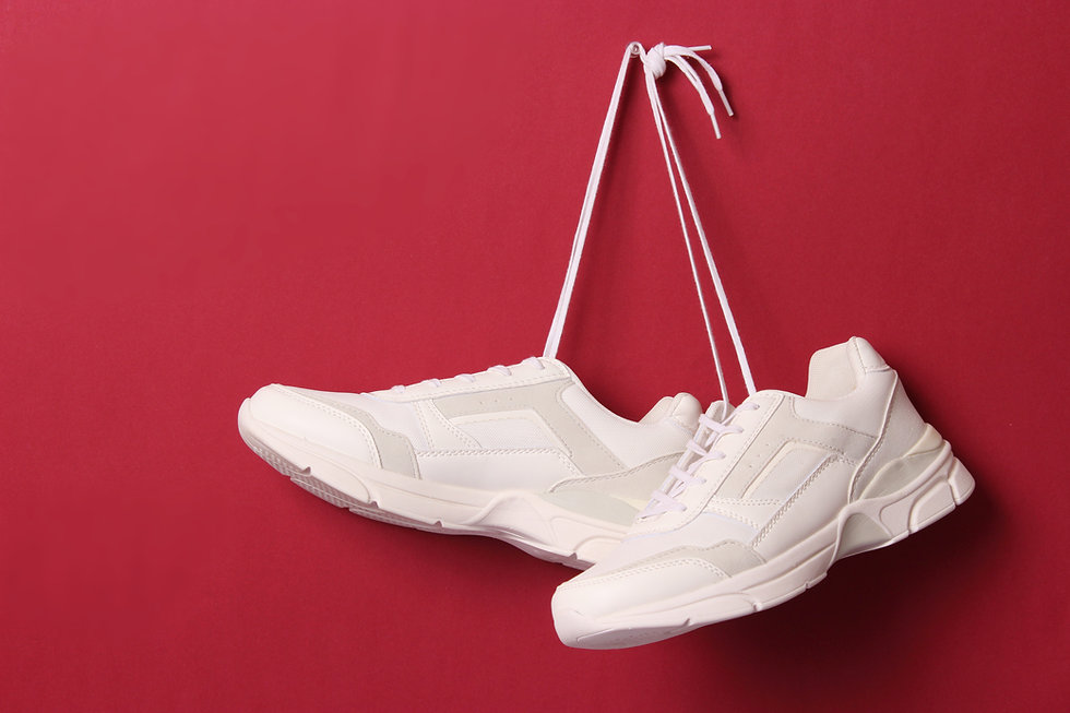 Hanging White Shoes