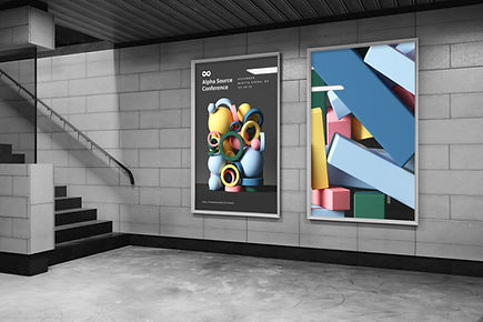 Advertising banners on a staircase
