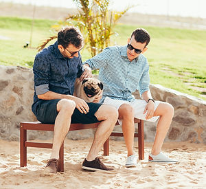 Guys with a Dog