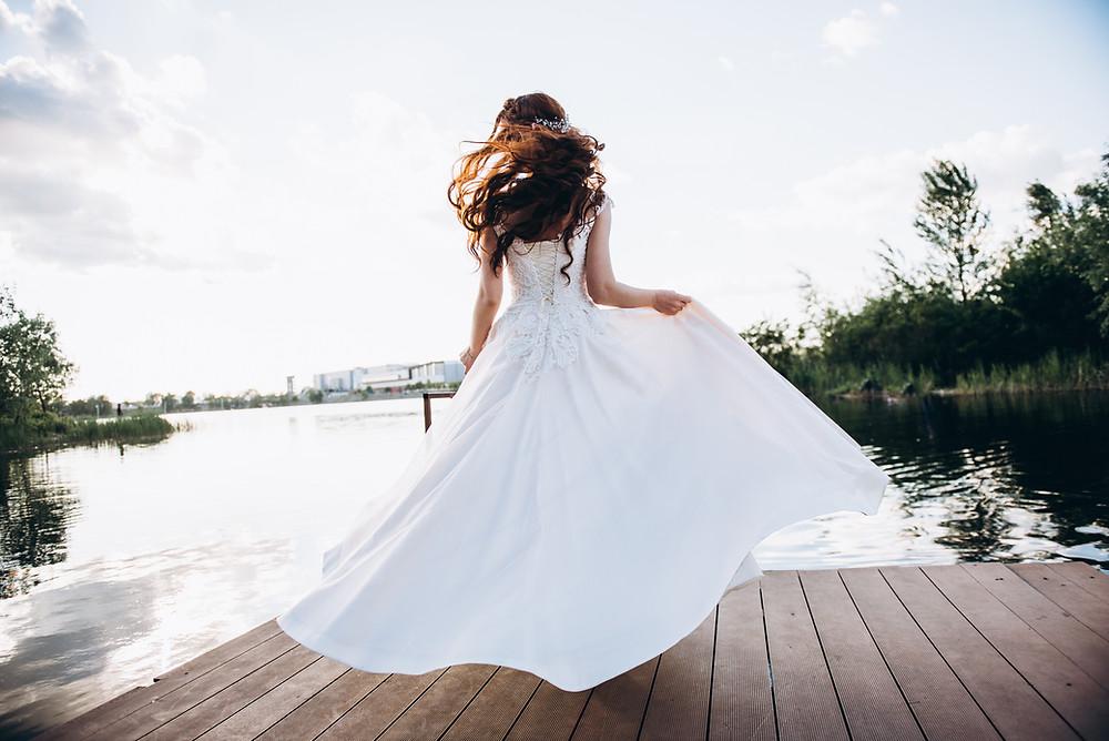 Bride in a white wedding dress