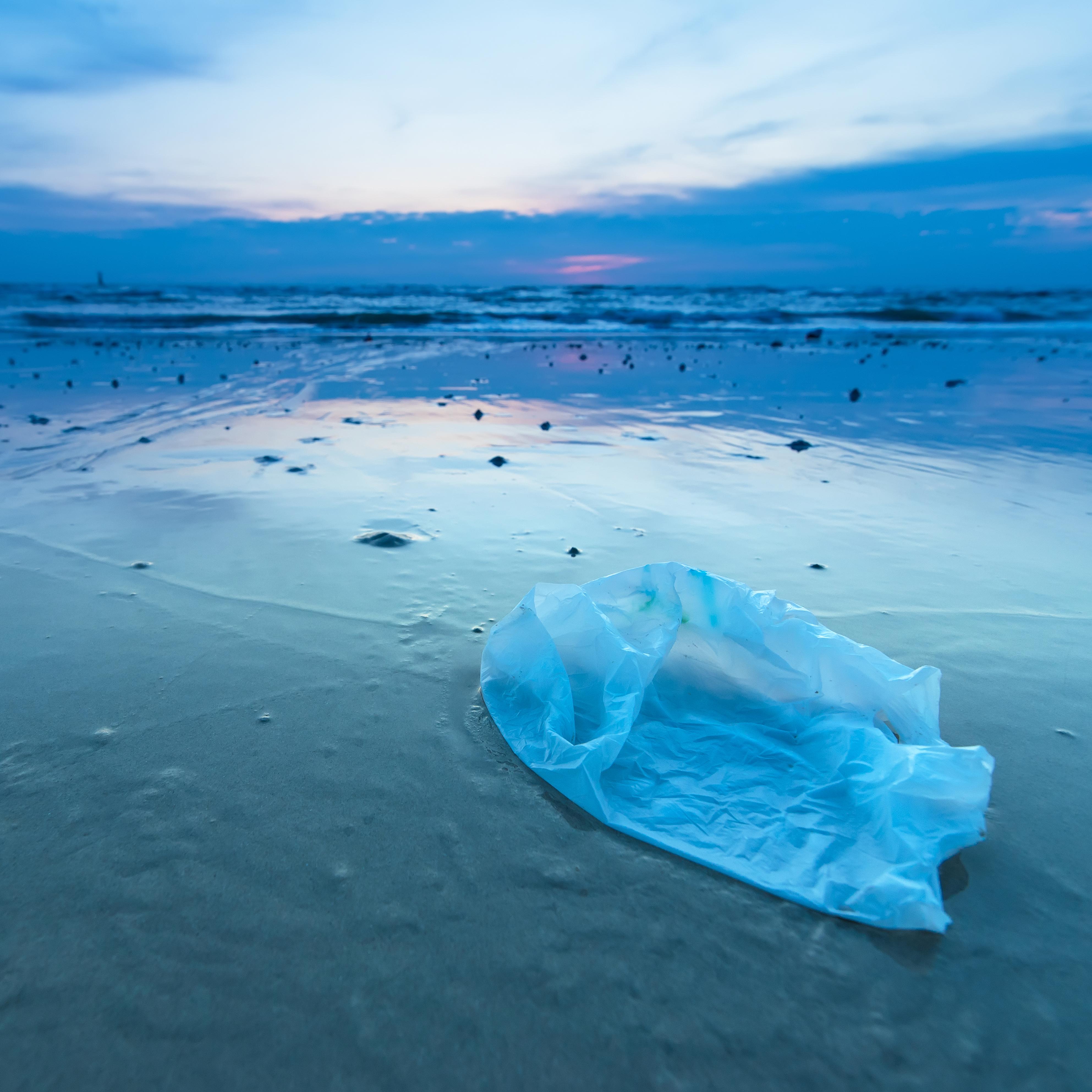 Sacchetto di plastica sulla spiaggia