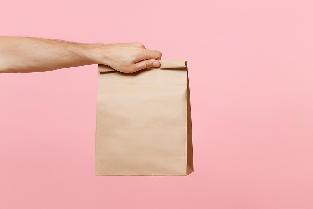 Brown paper delivery bag