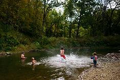 森の川で泳ぐ