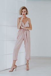 Woman in Pink Jumpsuit