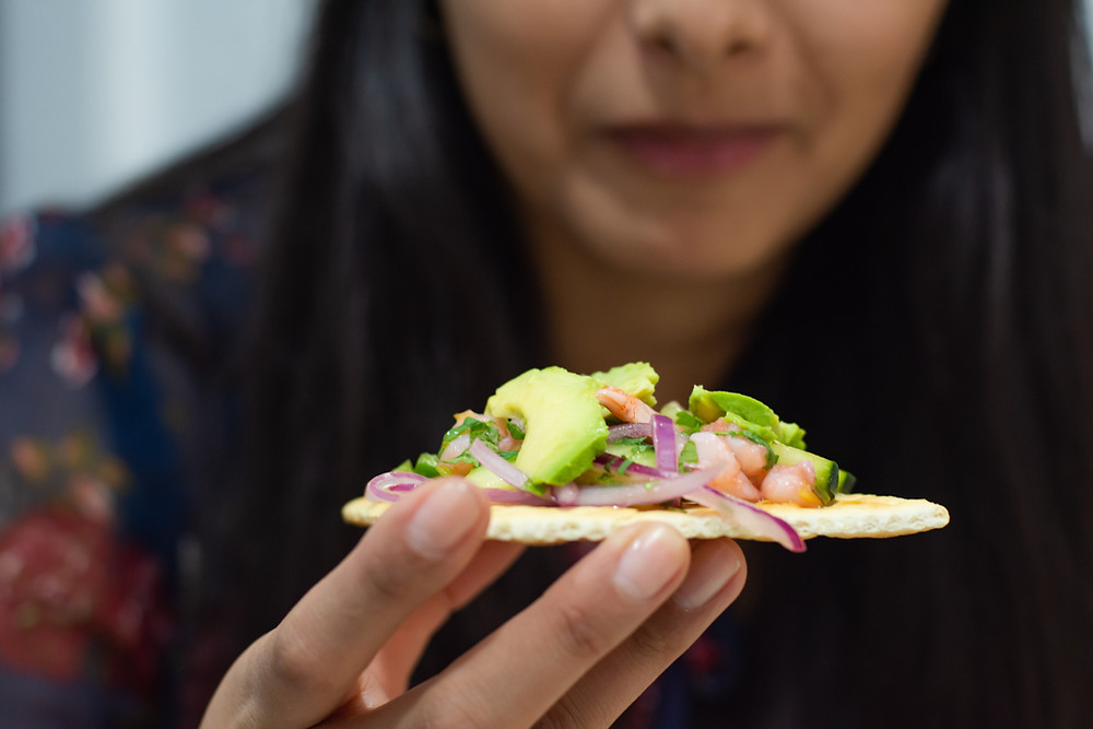 avocado snack on a cracker