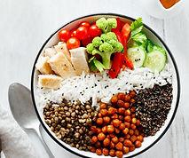 Bol santé légumes secs riz brocolis