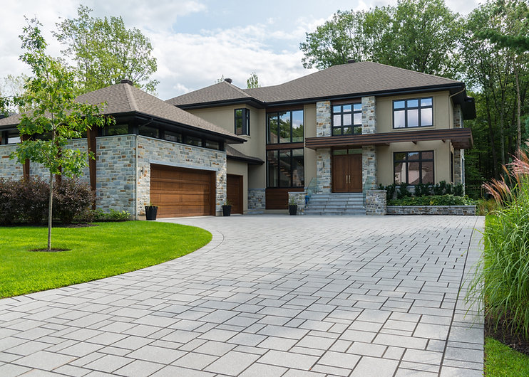 Luxury house view from driveway